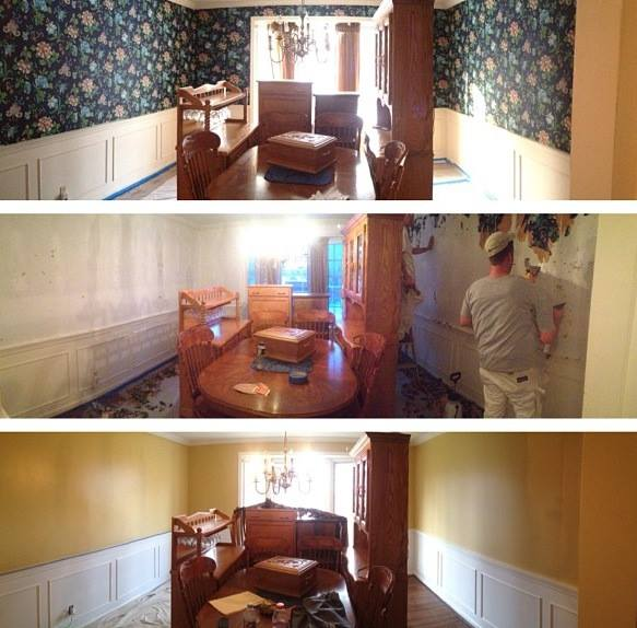 Before, during, and after interior room painting